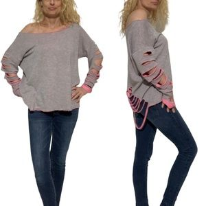 JC Fits Inc. Destructed Pink & Grey Torn Top